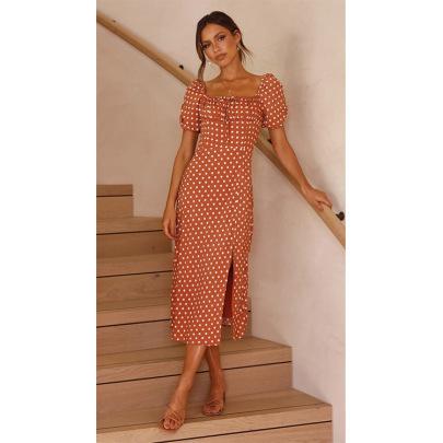 Summer Polka Dot Puff Sleeve Square Neck Slim Slit Mid-length Skirt Dress NSYD63323