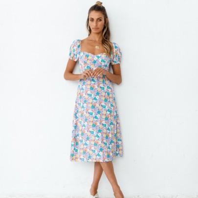 Summer New Short-sleeved Square Neck Printed Split Dress NSYD63324