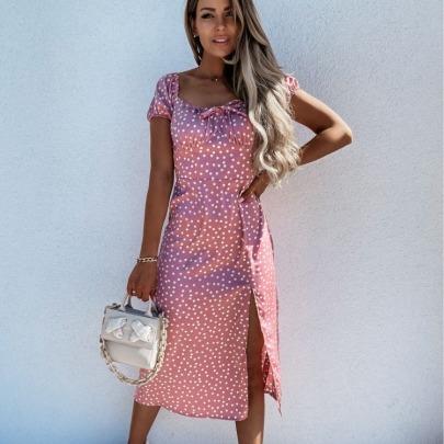 Summer New Style Halter Sexy One-shoulder Hem Slit Printed Dress NSYD63325