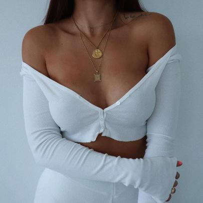Thin Long-sleeved V-neck Single-breasted T-shirt NSSS60200