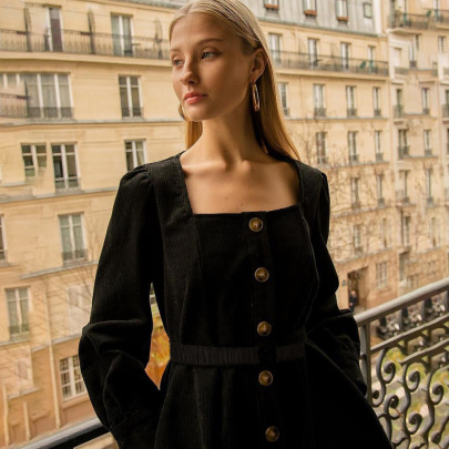 Long-sleeved Square Collar Buttoned Cardigan Waist Retro Dress Short Dress NSSS60204