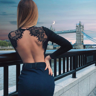 Back Hollow Lace Stitching Long-sleeved Jumpsuit NSSS60205