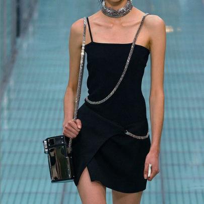 Sling Collar Open Back Irregular Split Dress NSSS60220