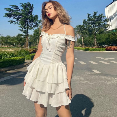 Halter Neckline Folds Slim Fit Princess Dress NSSS60226