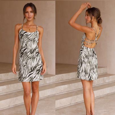 Halter Sexy Strappy Printed Dress  NSYD60328