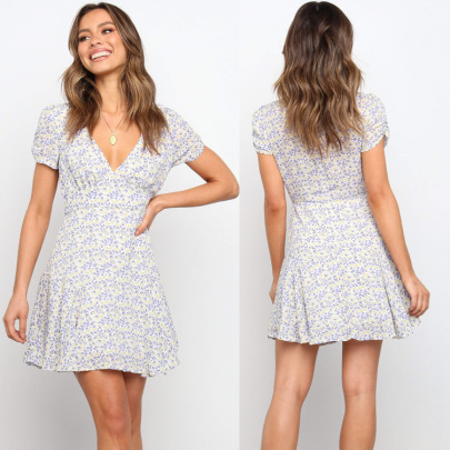 Deep V Short-sleeved Slim Printed Dress NSYD60329