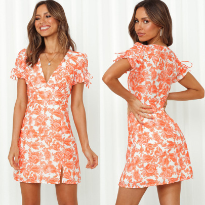 V-neck Short-sleeved Waist Printed Dress NSYD60331