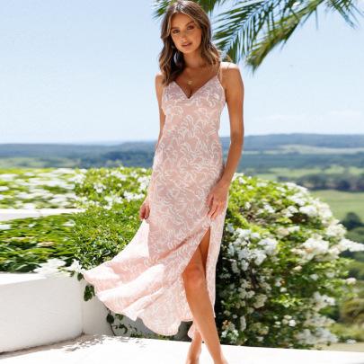 Deep V Sexy Sling Big Swing Slit Printed Dress NSYD60334