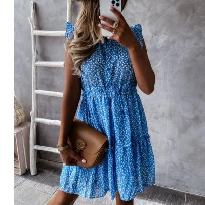 Half High Collar Pleated Print Dress NSYD60336