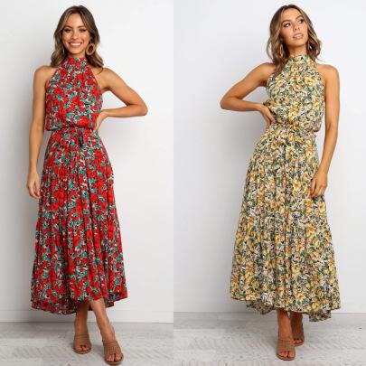 Polka Dot Rayon Printed Halterneck Tie Dress NSYD60337