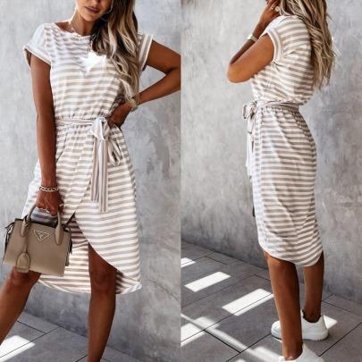 Short-sleeved Lace-up Irregular Striped Printed Dress  NSYD60338