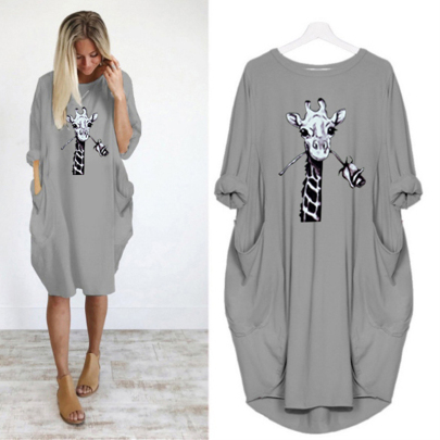Long Sleeve Printed Round Neck Loose Mid-length Dress NSJIN60651
