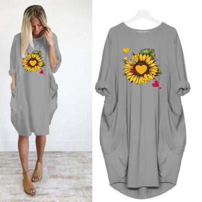 Long Sleeve Round Neck Printed Loose Dress NSJIN60650