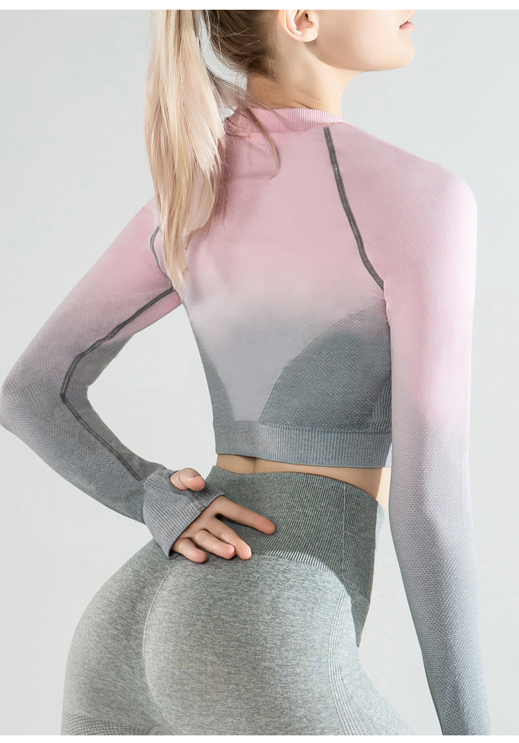 hot style hanging-dyed gradient fitness tops NSLUT60538