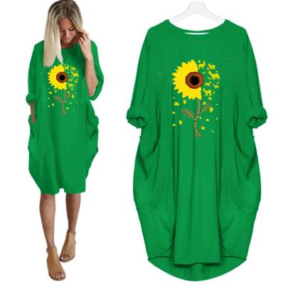 Round Neck Printed Long Sleeve Dress NSJIN60644