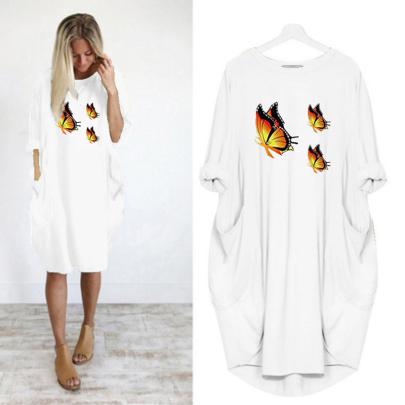 Long Sleeve Loose Round Neck Butterfly Print Midi Dress NSJIN60643
