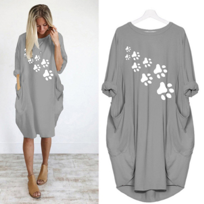 Long Sleeve Loose Round Neck Printed Casual Dress NSJIN60641