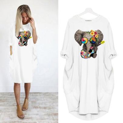 Loose Round Neck Long Sleeve Printed Casual Dress NSJIN60632