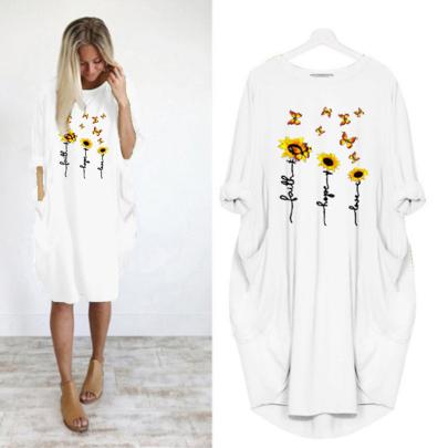 Summer Women's Fashion Long Sleeve Printed Round Neck Casual Dress NSJIN60622
