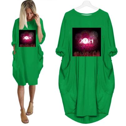 Long Sleeve Printed Round Neck Dress NSJIN60606