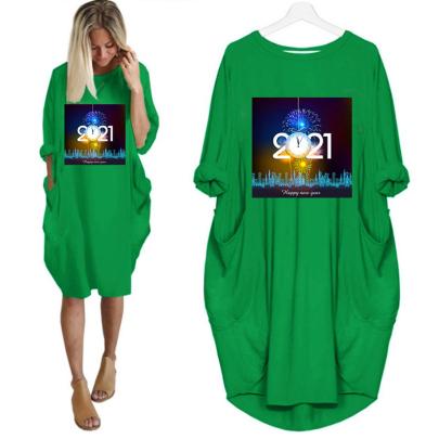 Round Neck Print Mid-length Dress NSJIN60602