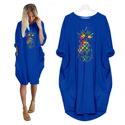 Long Sleeve Round Neck Pineapple Print Dress NSJIN60594