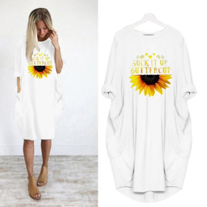 Long-sleeved Letter Printing Round Neck Casual Mid-length Dress NSJIN60593