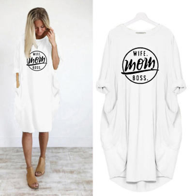 Long Sleeve Letter Printing Round Neck Casual Dress NSJIN60589