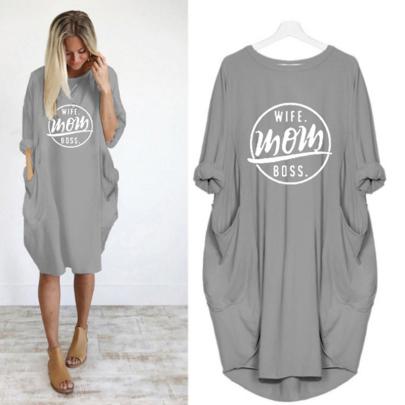 Fashion Long Sleeve Round Neck Print Letter Dress NSJIN60587
