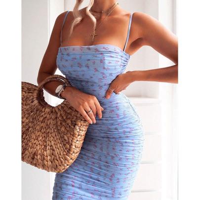 Net Yarn Printing Floral Date Party Long Dress NSYIS60567