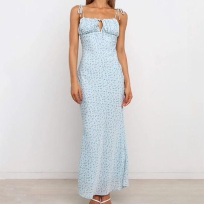 New Printed Suspender Straps Tied On The Chest Halter Fishtail Dress  NSYIS60517