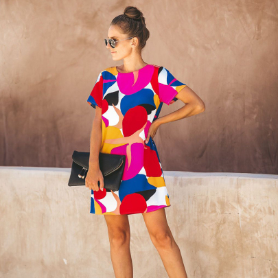 Round Neck Short-sleeved Multi-color Stitching Printed Dress NSXMI60563
