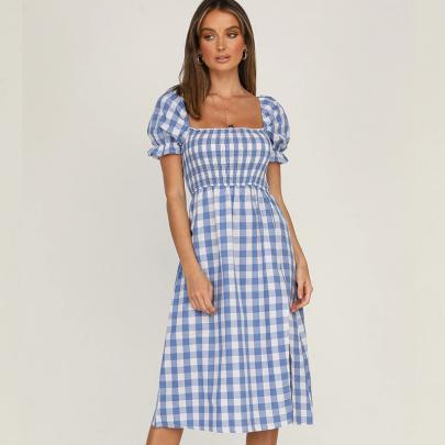 Split Square Neck Plaid Short-sleeved Dress NSXMI60561