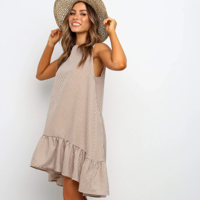 Sleeveless Plaid Round Neck Ruffle Dress NSXMI60557