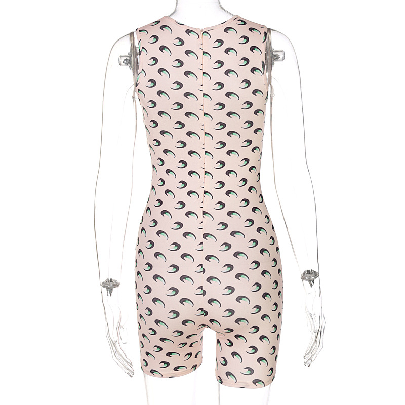 new summer fashion print round neck sleeveless slim fit hip jumpsuit NSYID64185
