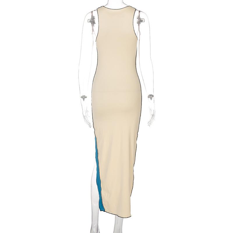 new summer stitching round neck hitting color sleeveless mid-length skirt NSYID64182
