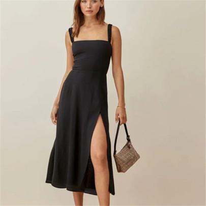 Sexy Sling Side Slit Black Temperament Long Skirt NSAC60354
