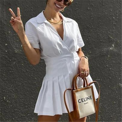 Summer New Style Small Stitching Pleated Shirt Dress NSAC60360