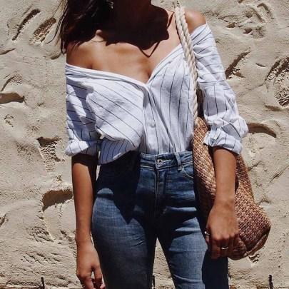 Summer Fashion Double V-neck Striped Waist Long-sleeved Shirt NSHEQ60364