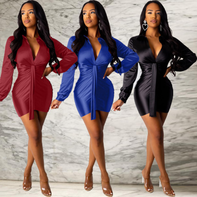 Hot Sale Sexy Solid Color Pleated Tight Dress NSFNN60374