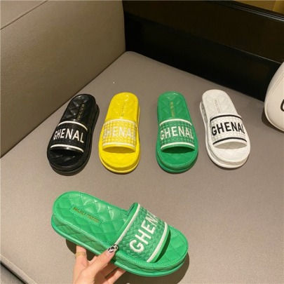 Summer New Embroidered Letters Comfortable Casual Platform Sandals NSHU60377