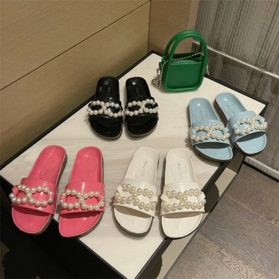 Summer New Style Outer Wear Pearl Thick-soled Slippers NSHU60378