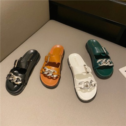 Belt Buckle Chain Thick-soled Sandals  NSHU60379