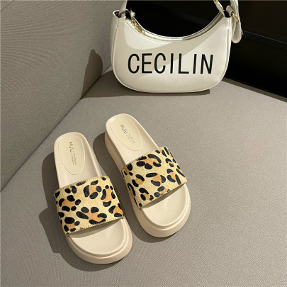 Summer New Style Outer Wear Thick-soled One-word Sandals NSHU60380