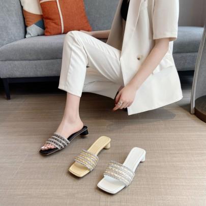 New Fashion Rhinestone Square Head Thick Heel Sandals NSHU60384