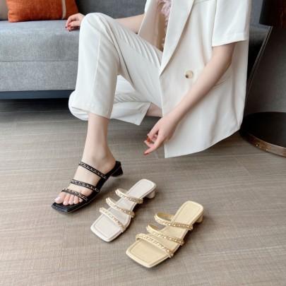 New Summer Mid-heel Thick Heel Fashion Chain High Heels Shoes NSHU60386