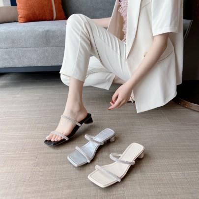 Rhinestone Thick Heel Fashion Sandals NSHU60387