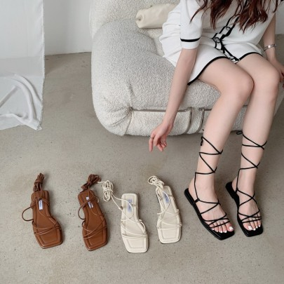 Summer Lace-up Fashionable Square Toe Open-toed Sandals NSHU60401