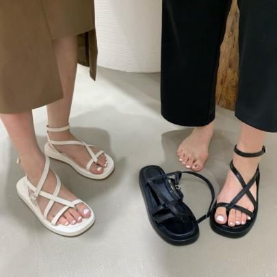 Summer New Style Low-heeled Flat-bottom Fashion Roman Shoes NSHU60404