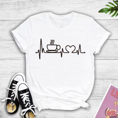 Coffee ECG Printing T-shirt NSYIC60476
